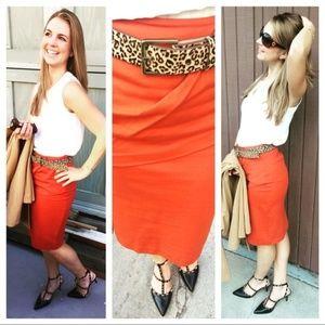 CAbi Burnt Orange Overlay Skirt